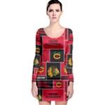 Chicago Blackhawks Nhl Block Fleece Fabric Long Sleeve Bodycon Dress