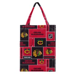Chicago Blackhawks Nhl Block Fleece Fabric Classic Tote Bag by Onesevenart