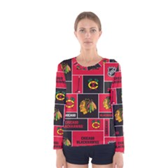 Chicago Blackhawks Nhl Block Fleece Fabric Women s Long Sleeve Tee by Onesevenart