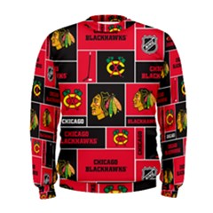 Chicago Blackhawks Nhl Block Fleece Fabric Men s Sweatshirt by Onesevenart