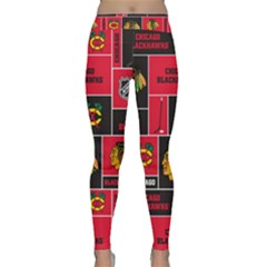 Chicago Blackhawks Nhl Block Fleece Fabric Yoga Leggings  by Onesevenart