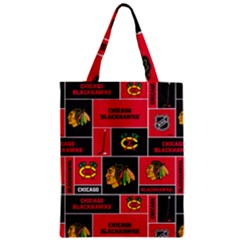 Chicago Blackhawks Nhl Block Fleece Fabric Zipper Classic Tote Bag by Onesevenart