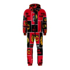 Chicago Blackhawks Nhl Block Fleece Fabric Hooded Jumpsuit (kids) by Onesevenart
