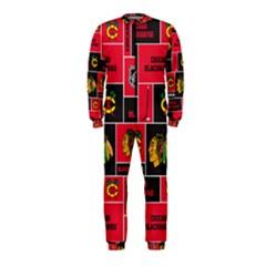 Chicago Blackhawks Nhl Block Fleece Fabric Onepiece Jumpsuit (kids) by Onesevenart