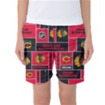 Chicago Blackhawks Nhl Block Fleece Fabric Women s Basketball Shorts