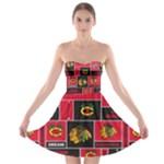 Chicago Blackhawks Nhl Block Fleece Fabric Strapless Bra Top Dress