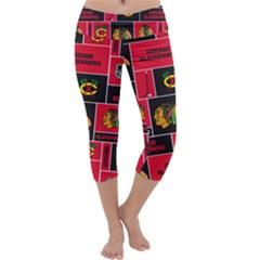 Chicago Blackhawks Nhl Block Fleece Fabric Capri Yoga Leggings by Onesevenart