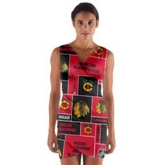 Chicago Blackhawks Nhl Block Fleece Fabric Wrap Front Bodycon Dress by Onesevenart