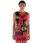 Chicago Blackhawks Nhl Block Fleece Fabric Wrap Front Bodycon Dress