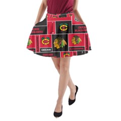 Chicago Blackhawks Nhl Block Fleece Fabric A Line Pocket Skirt by Onesevenart