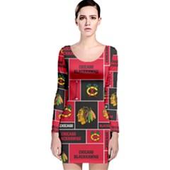 Chicago Blackhawks Nhl Block Fleece Fabric Long Sleeve Velvet Bodycon Dress by Onesevenart