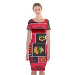 Chicago Blackhawks Nhl Block Fleece Fabric Classic Short Sleeve Midi Dress by Onesevenart