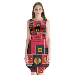 Chicago Blackhawks Nhl Block Fleece Fabric Sleeveless Chiffon Dress   by Onesevenart
