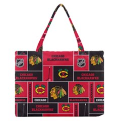 Chicago Blackhawks Nhl Block Fleece Fabric Medium Zipper Tote Bag by Onesevenart