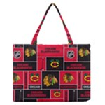 Chicago Blackhawks Nhl Block Fleece Fabric Medium Zipper Tote Bag