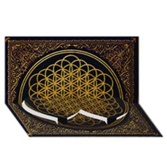 Bring Me The Horizon Cover Album Gold Twin Heart Bottom 3d Greeting Card (8x4) by Onesevenart