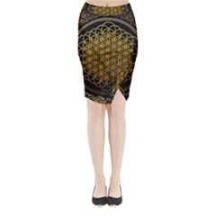 Bring Me The Horizon Cover Album Gold Midi Wrap Pencil Skirt by Onesevenart