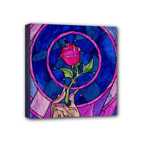 Enchanted Rose Stained Glass Mini Canvas 4  X 4  by Onesevenart