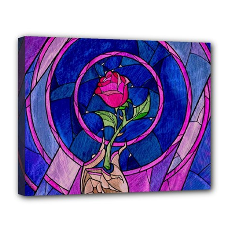 Enchanted Rose Stained Glass Canvas 14  X 11  by Onesevenart