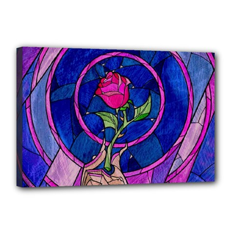 Enchanted Rose Stained Glass Canvas 18  X 12  by Onesevenart