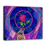 Enchanted Rose Stained Glass Deluxe Canvas 24  x 20