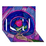 Enchanted Rose Stained Glass I Love You 3D Greeting Card (7x5)
