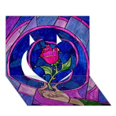 Enchanted Rose Stained Glass Heart 3d Greeting Card (7x5) by Onesevenart