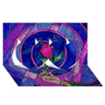 Enchanted Rose Stained Glass Twin Hearts 3D Greeting Card (8x4)