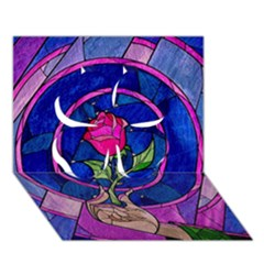 Enchanted Rose Stained Glass Clover 3d Greeting Card (7x5) by Onesevenart