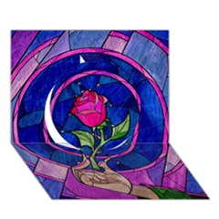Enchanted Rose Stained Glass Circle 3d Greeting Card (7x5) by Onesevenart