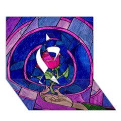 Enchanted Rose Stained Glass Ribbon 3d Greeting Card (7x5) by Onesevenart