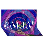 Enchanted Rose Stained Glass SORRY 3D Greeting Card (8x4)