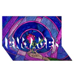 Enchanted Rose Stained Glass Engaged 3d Greeting Card (8x4) by Onesevenart