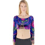 Enchanted Rose Stained Glass Long Sleeve Crop Top