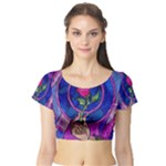 Enchanted Rose Stained Glass Short Sleeve Crop Top (Tight Fit)