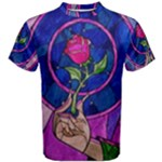 Enchanted Rose Stained Glass Men s Cotton Tee