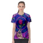 Enchanted Rose Stained Glass Women s Sport Mesh Tee