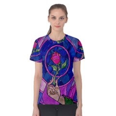 Enchanted Rose Stained Glass Women s Cotton Tee by Onesevenart