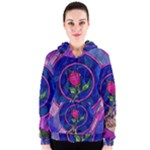Enchanted Rose Stained Glass Women s Zipper Hoodie