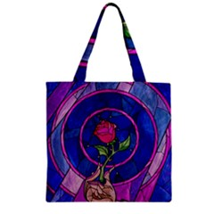 Enchanted Rose Stained Glass Zipper Grocery Tote Bag by Onesevenart