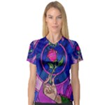 Enchanted Rose Stained Glass Women s V-Neck Sport Mesh Tee