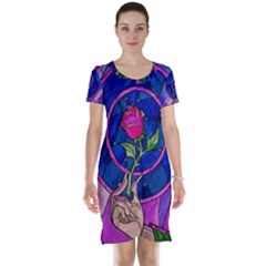 Enchanted Rose Stained Glass Short Sleeve Nightdress by Onesevenart