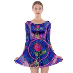 Enchanted Rose Stained Glass Long Sleeve Skater Dress by Onesevenart