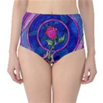 Enchanted Rose Stained Glass High-Waist Bikini Bottoms