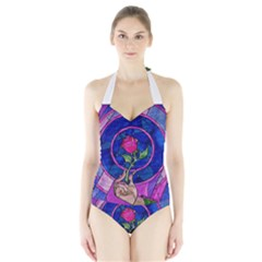 Enchanted Rose Stained Glass Halter Swimsuit by Onesevenart
