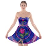 Enchanted Rose Stained Glass Strapless Bra Top Dress
