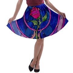 Enchanted Rose Stained Glass A Line Skater Skirt by Onesevenart