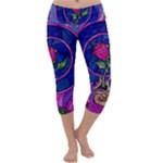 Enchanted Rose Stained Glass Capri Yoga Leggings