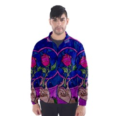 Enchanted Rose Stained Glass Wind Breaker (men) by Onesevenart