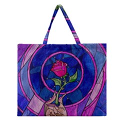 Enchanted Rose Stained Glass Zipper Large Tote Bag by Onesevenart
